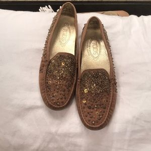 Tod's Studded Taupe Suede Driving Shoes